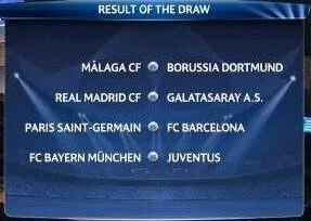 Champions League Quarterfinal Draw 2013