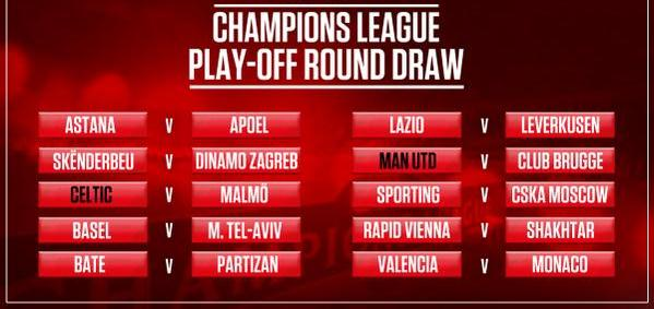 Champions League Playoff Round Draw 2015 16