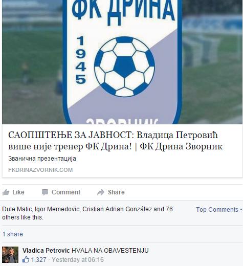 Vladica Petrovic Sacked Facebook