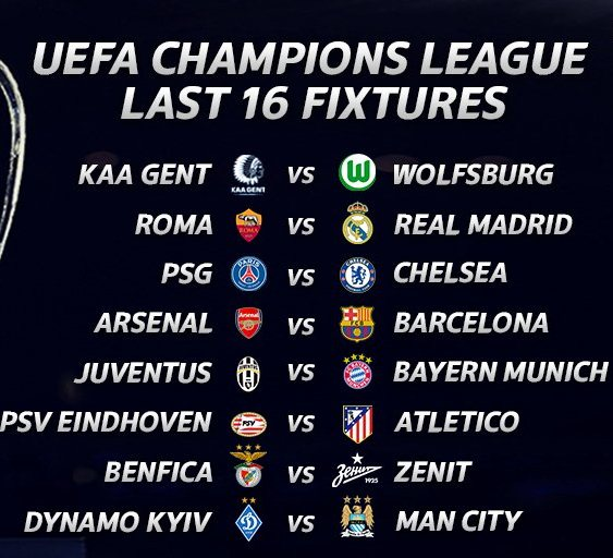 Champions League Round of 16 Draw 2016