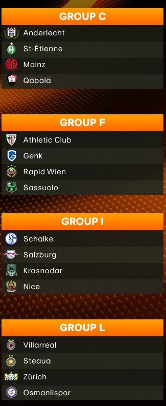 Europa League Group Stage Draw 2016-17