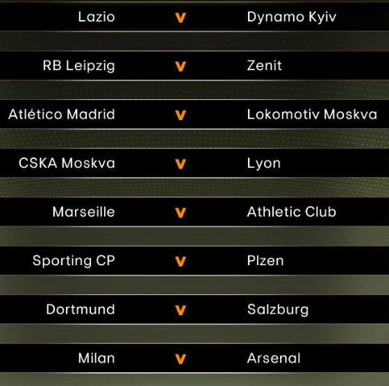 Europa league Round of 16 Draw 2017 2018