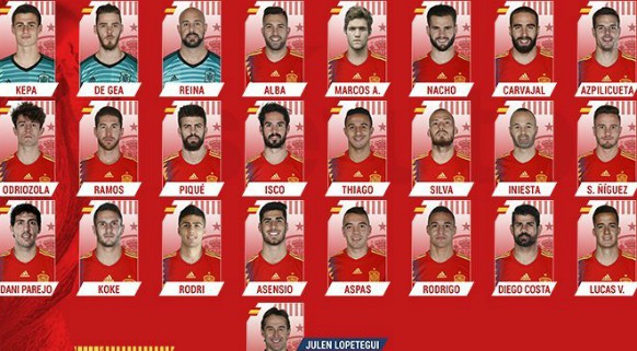 Spain Squad for Argentina Germany friendlies 2018