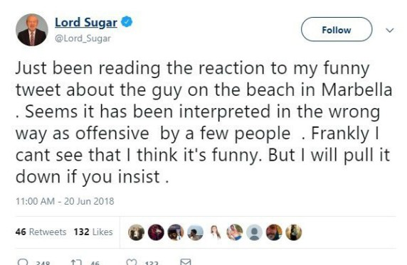 Alan Sugar Racist Tweet Senegalese Footballers