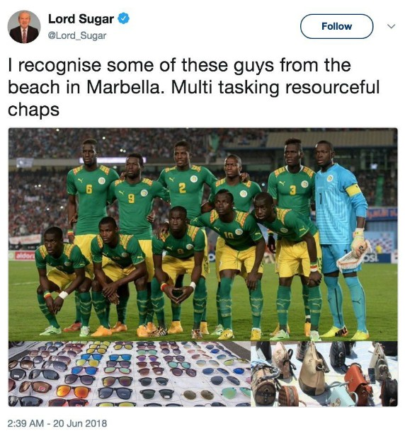 Alan Sugar Senegal Tweet