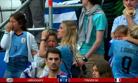 Suarez children crying after France loss
