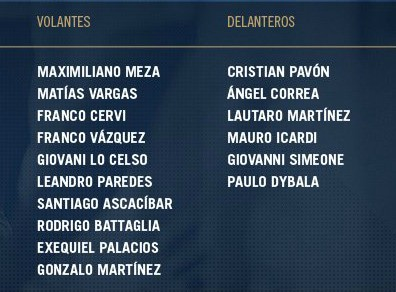 Argentina Squad Colombia 2018