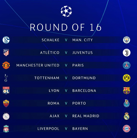 Premier League 17 Matchday Round Season 2018 2019: Champions League Round Of 16 Draw Result 2019- Liverpool