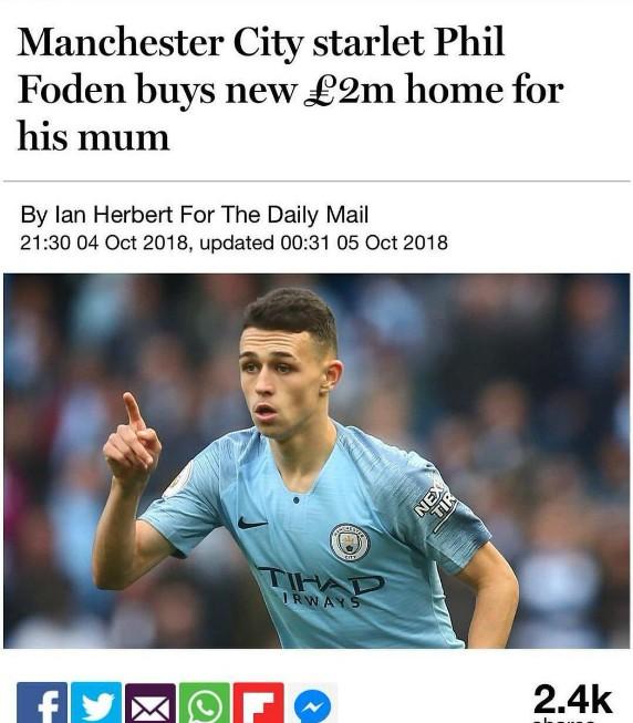 Mail Headline Phil Foden Home
