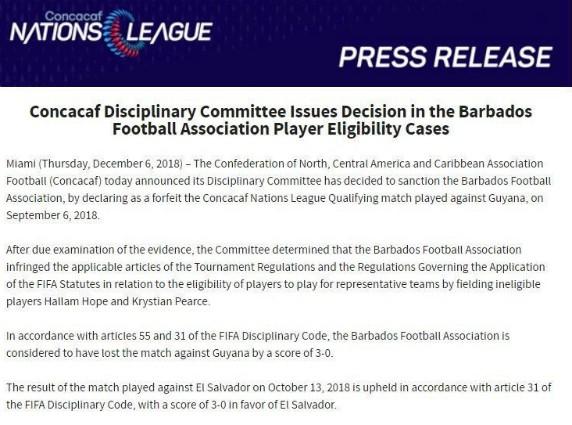 CONCACAF Ruling Barbados Guyana