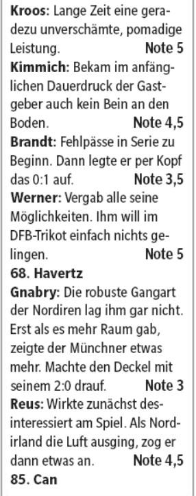 germany player ratings vs northern ireland 2019 hamburger morgenpost