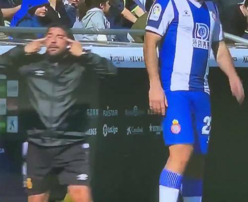 Dani Pastor Mallorca Coach Kubo Racist Slanted Eyes Gesture