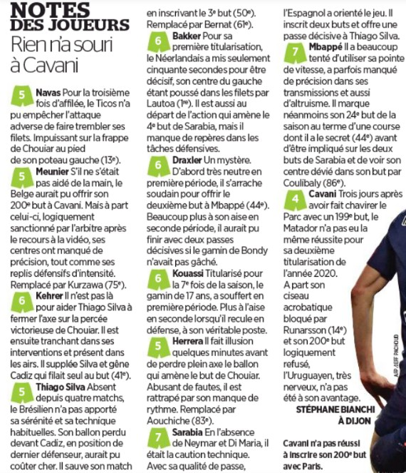 PSG player ratings vs Dijon 2020 Coupe Le Parisien