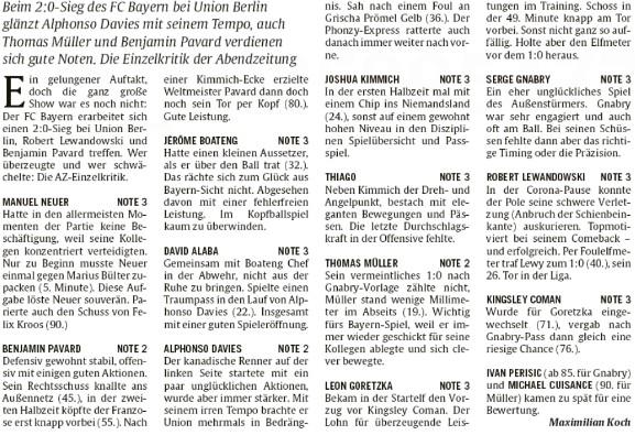 Abendzeitung Munchen player ratings Union Berlin Bayern 2020 0-2