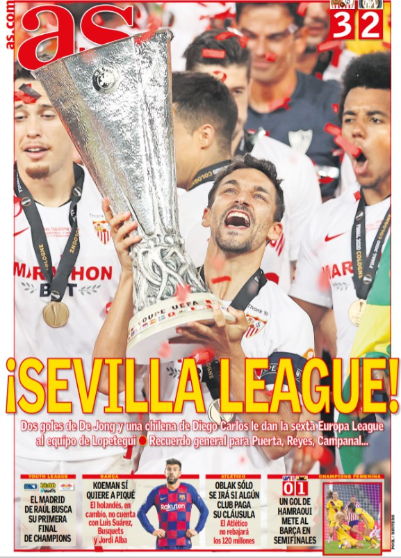 AS Newspaper Headline Sevilla Inter Milan Europa League 2020