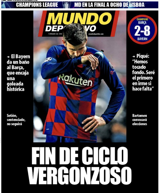 Barca 2-8 Bayern Mundo Deportivo Front Page August 15 2020