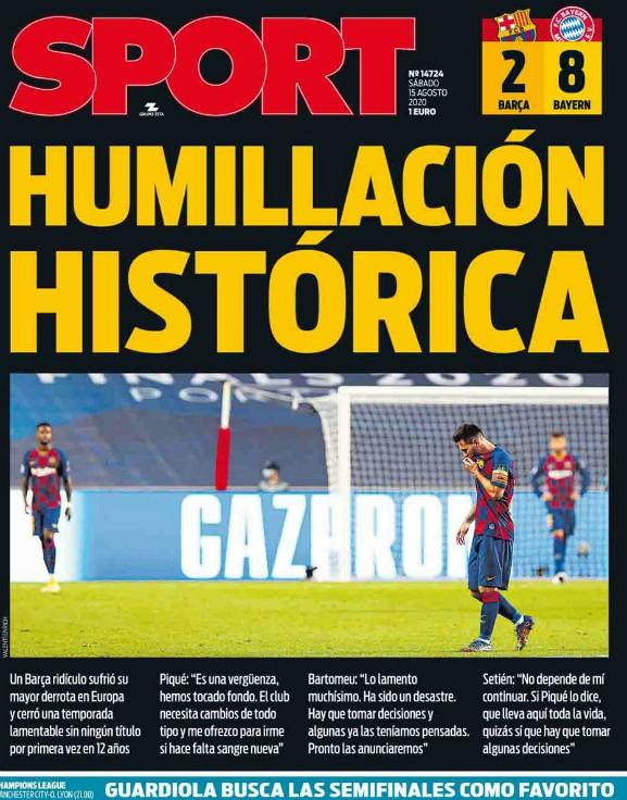 Barca 2-8 Bayern Spanish Newspaper Headline 2020 Sport