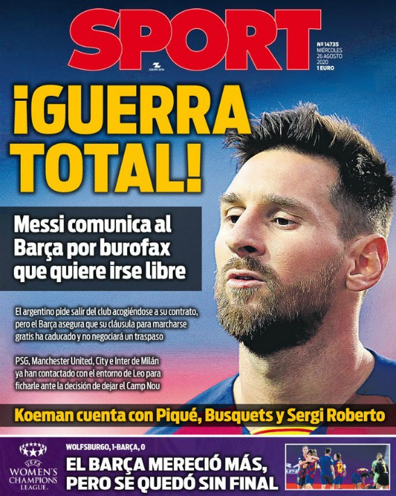 Barcelona Newspaper Sport Reaction to Messi wanting to leave