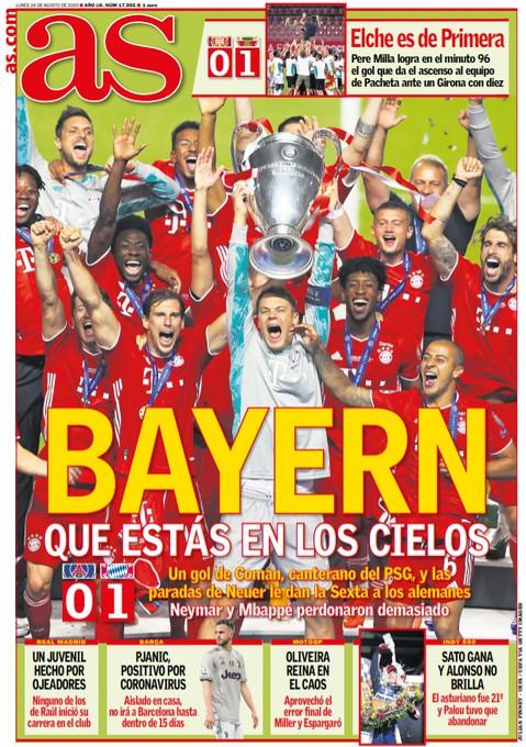 Diario AS Spain Paper Headline Champions League Final 2020
