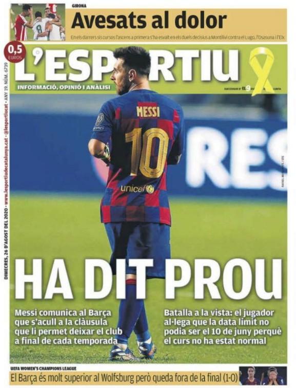L'Esportiu Headline Messi Exit