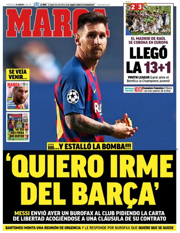 Marca Reaction Messi Wanting to Leave Barca
