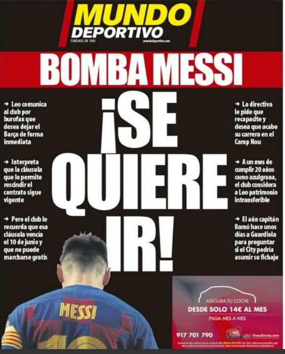 Mundo Deportivo Frontpage August 26 2020 Messi