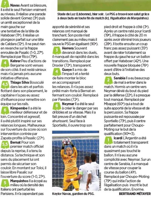 PSG player ratings vs Atalanta Champions League Le Parisien