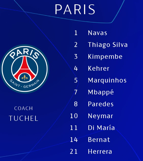 Paris Lineup v Bayern