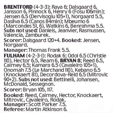 Player Ratings Fulham Brentford Daily Mail