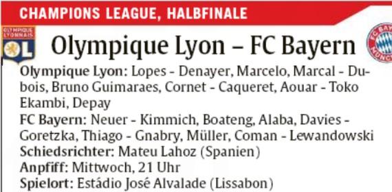 Probable Lineup Lyon Bayern Abendzeitung Munchen Newspaper
