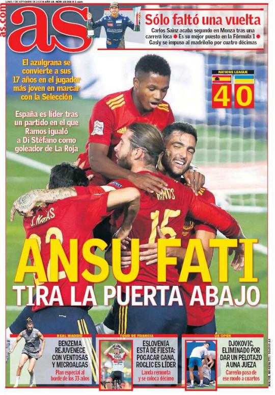 AS Newspaper Headline 7 September 2020 Ansu Fati Scorer
