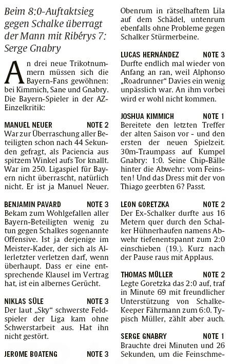 AZ Player Ratings FC Bayern S04 2020