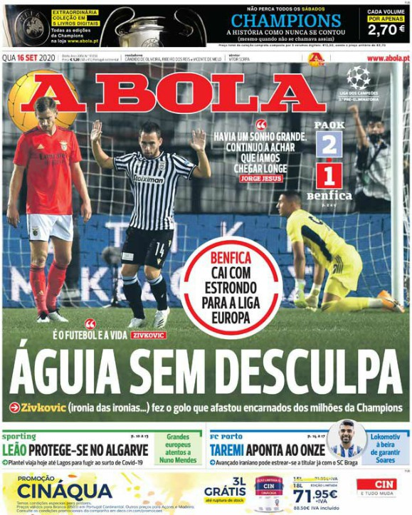 Abola Frontpage PAOK 2-1 Benfica
