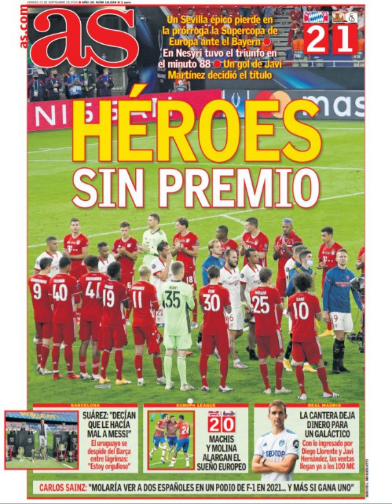 Diario AS Paper Headline after Super Cup 2020 Bayern Sevilla