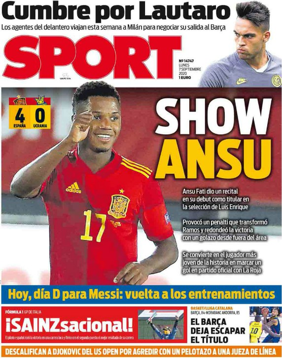 Diario Sport Headline Ansu Fati Scorer