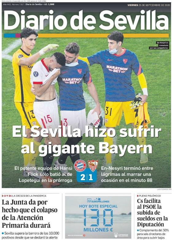 Diario de Sevilla reaction Bayern 2-1 Sevilla 2020