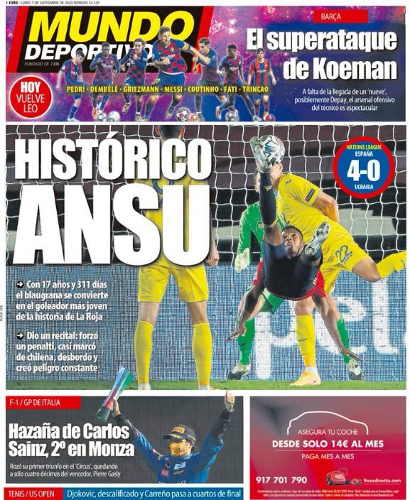 Mundo Deportivo Headline Ansu Fati Historical