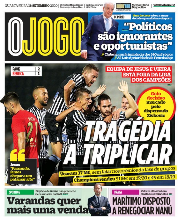 O Jogo front page 16 September 2020 PAOK Benfica
