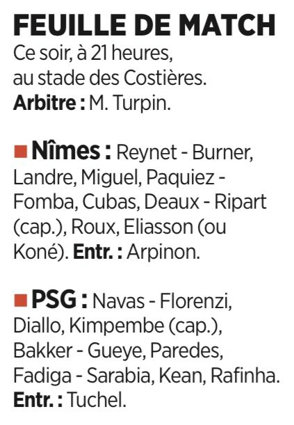 Expected Lineups Nimes PSG