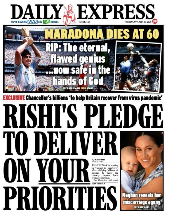 Daily Express Reaction Maradona Death