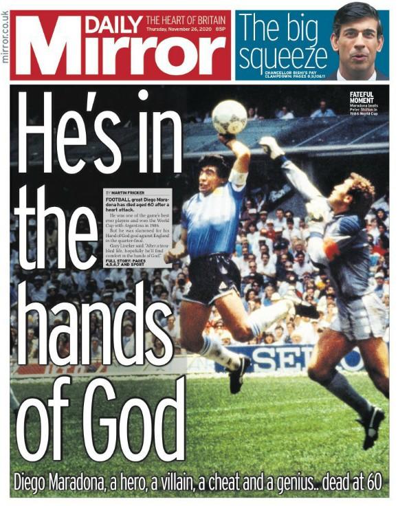 Daily Mirror Headline Maradona Dead Reaction