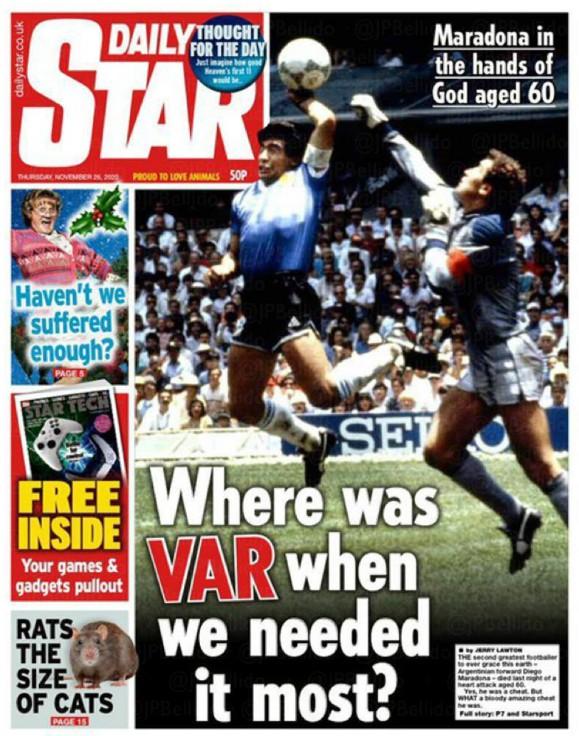 Daily Star Headline Maradona Death Newspaper