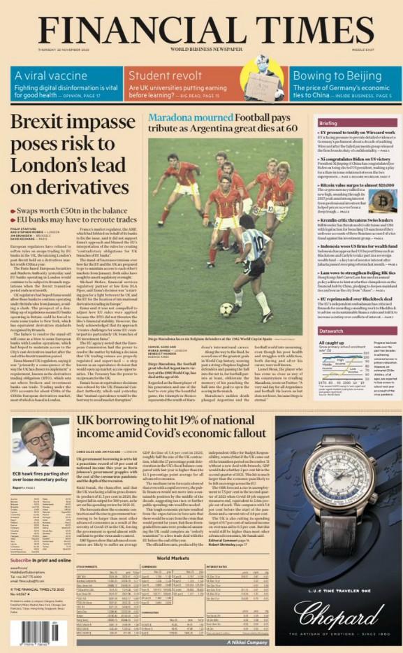 Financial Times FT Headline Maradona Death