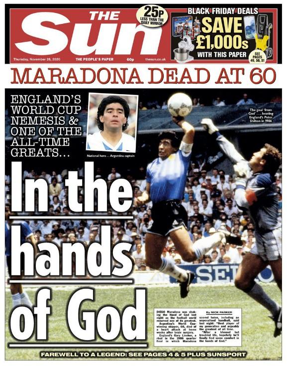 The Sun Paper Reaction Maradona Death