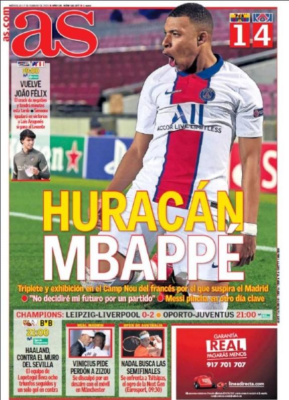 Diario Diario AS Newspaper Headline 17 February 2021 Barca PSG