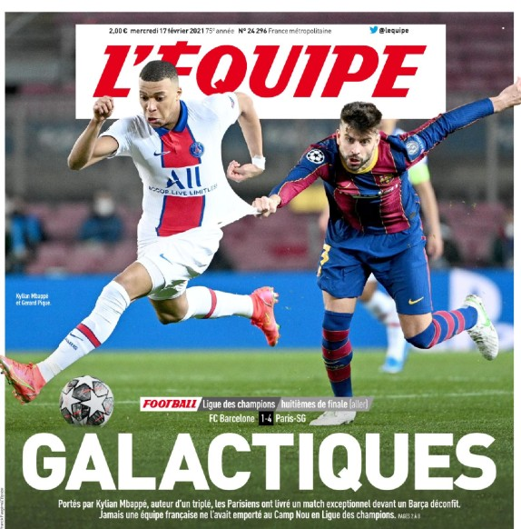 L'Equipe Frontpage Cover Barcelona vs PSG First Leg