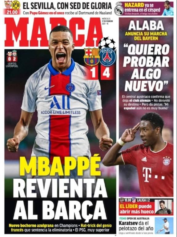 Marca Paper Headline After Barcelona 1-4 PSG 2021