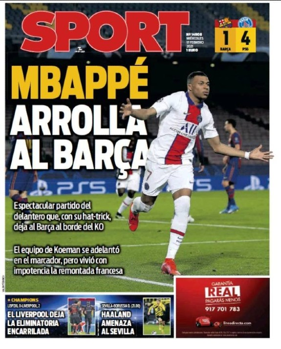 Sport Newspaper Cover After Barca 1-4 PSG February 2021