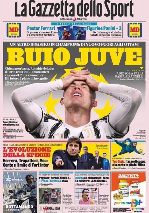 Gazzetta dello Sport headline after Juventus 3-2 Porto Champions League (1)