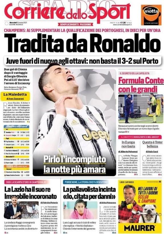 Tradita da Ronaldo Headline Corriere dello Sport (1)